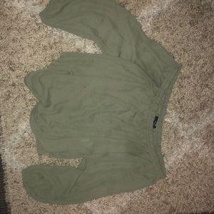 Olive chiffon off shoulder blouse